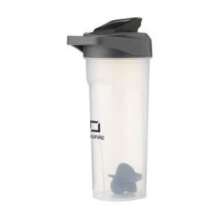 Praktische, BPA vrije kunststof proteïne shaker voor het mengen van eiwit- en sportdrankjes. Uitgekiend design met grip, draaglus, maataanduiding in ml/oz en speciale shakerbal voor het gelijkmatig mengen en laten oplossen van de inhoud. Ideaal voor onderweg, thuis of in de sportschool. Inhoud 600 ml.