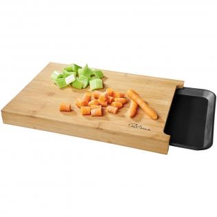 Planche en bambou polyvalente avec un plateau pratique qui se glisse en dessous.