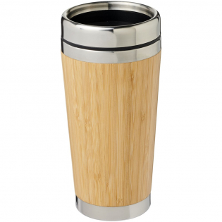 Double-walled insulated tumbler made from stainless steel and finished with a natural bamboo outer. It can keep drinks hot for up to 2 hours and cold for up to 4 hours. Drinking from it is easy with the press-on lid with sliding cover to close.