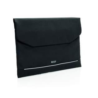 """Pochette sans PVC pour ordinateur 15,6"""" avec fermeture magnétique et une poche zippée avec protection anti RFID à l'intérieur. Bande réfléchissante sur le devant."""