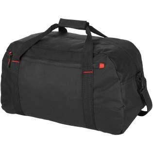 Large travel bag with zipper large main compartment, front zipper pocket and adjustable shoulder strap.