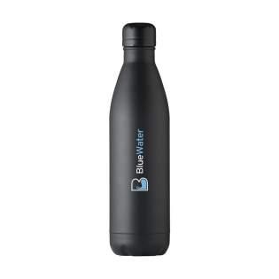 Dubbelwandige, lekvrije RVS waterfles/thermosfles. Vacuüm geïsoleerd. Geschikt voor het op temperatuur houden van koude of warme dranken. Inhoud 750 ml. Per stuk in doos.