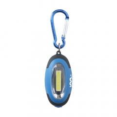 Porte-clés avec lampe LED COB. Grand faisceau lumineux blanc. Ajustez le faisceau : lumière uniforme et forte, lumière uniforme et faible, lumière clignotante. L'aimant et le mousqueton crochet sont dans des couleurs assorties. Inclus : piles.