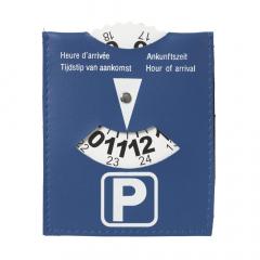 Parkeerschijf van blauw imitatieleer.