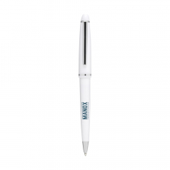 Blue ink ballpoint pen with polished barrel, ornate clip and point and twist-action tip.