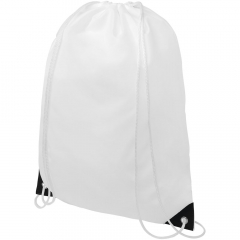 Drawstring backpack with main compartment with drawstring closure in white colour. Features coloured reinforced corners. Resistance up to 5 kg weight.