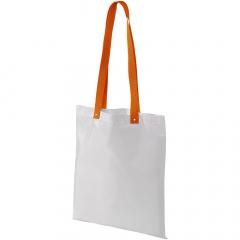 Ce sac peut servir de sac shopping mais également de sac lors d'une conférence. Longues anses de couleur : 32,5 cms. Boutons métal pour renforcer les anses.
