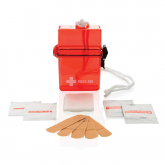 First aid kit including 5 pcs adhesive strips and a non woven sponge, 2 alcohol prep pads and 2 moist towelettes. Packed in a splash water proof plastic box.