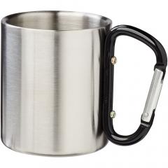 200 ml Becher mit breitem Griff aus Edelstahl, mit Karabiner im Griff. Ideal für Camping oder Outdoor Aktivitäten.