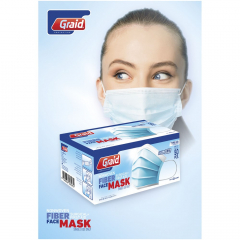 Graid Protection. Type IIR face mask with 3 layers. Face mask with soft and strong ear elastic and nose clamp ensuring a good fit. The mask has a high bacterial filtration. The single-use mask is recommended for use by general population and healthcare professionals to reduce cross-contamination. Protecting against and minimizing risk of infection. Provides comfort through breathable material that does not irritate the skin. CE marked in accordance with EU Directive on Medical Devices 93/42 / EEC, Annex V.3&Vii, Class 1 rule 1. Type IIR approved in accordance with EN 14683:2019. We guarantee Bacteria Filter Effect (BFE) of ≥ 98% and splash resistance. Biocompatibility tested. Only available in increments of 50 (minimum order quantity 50 pieces). Delivered in a carton box of 10 x 8 x 19 cm.