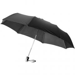 """Parapluie 21.5"""" 3 sections avec ouverture et fermeture automatique. Mât et baleines en métal, poignée plastique. Livré avec une pochette de rangement."""