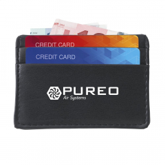 Compact, imitation leather credit card case for cash, bank cards and business cards. With 2 side pockets on front.