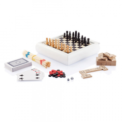 5 in 1 game set including: mikado, playing cards, domino, chess and backgammon. White pine wood box 17x17x3,7cm with black print chess board at one side of lid and black/red printed backgammon board on bottom of box. One side of sliding lid for logo imprint. Packed in black box with separate red lid and red felt inside.