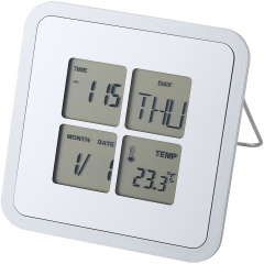 Desk clock with time function, alarm function, snooze function, calendar and C/F thermometer. Battery included.