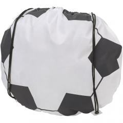 Großes Hauptfach mit Kordelzugverschluss. Fußball Design ist vorgedruckt.