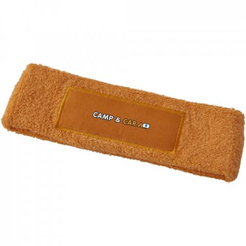 Weiches und saugfähiges elastisches Baumwoll Stirnband mit rechteckigem 90x30mm Aufnäher für Werbeanbringung.