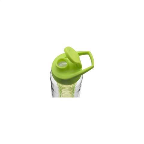 Waterfles met infuser. Van helder Tritan kunststof: milieuvriendelijk, BPA-vrij en duurzaam. Met gekleurde, praktische schroefdop en afsluitbare drinkopening. Vul het royale infuser compartiment met vers fruit of groente en creëer je eigen smaaksensatie. Inhoud 700 ml.