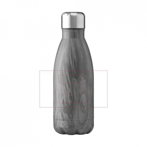 Double-walled, vaccum-insulated, stainless steel water bottle/thermo bottle. With leak-proof screw cap. This elegant model has a striking, attractive top layer. Suitable for maintaining the temperature of cold or hot drinks. Capacity 350 ml. Each item is individually boxed.