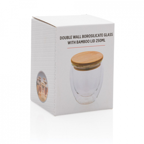This double wall borosilicate glass has a sleek 2 layer design which showcases all your favourite drinks! No matter what you serve, cappuccino, tea or latte, it will be nice and  hot while your hand stays cool. Incudes a bamboo lid. It is recommended to handwash the glass and bamboo lid. Capacity 250ml. BPA free.
