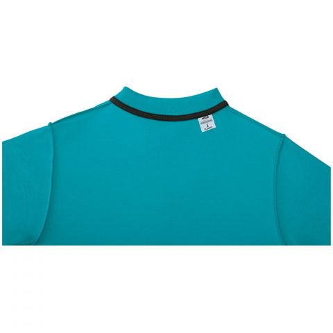 Interior custom branding options. Tearaway-cutaway main label for tagless comfort. Flat knit collar. Three button placket. Double needle stitching detail. Dyed-to-match buttons. Necktape in contrast colour.