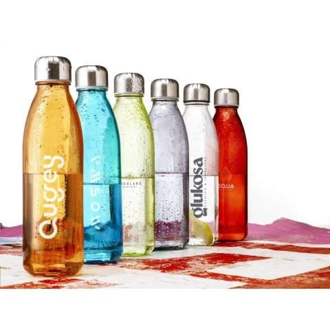 Luxueuse bouteille d'eau en verre sodocalcique solide et transparent, avec bouchon à vis pratique en acier inoxydable. Respectueuse de l'environnement, sans BPA, anti-fuite, durable et réutilisable. Capacité 650 ml. Par pièce dans une boîte.