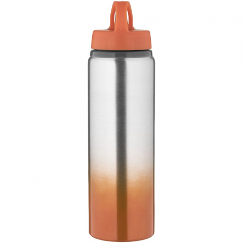 Single-walled construction with screw-on, spill-resistant lid and flip-top drinking spout. Easy to use when on the go. This attractive drinking bottle features an on-trend, gradient colour appearance. Volume capacity is 740 ml.