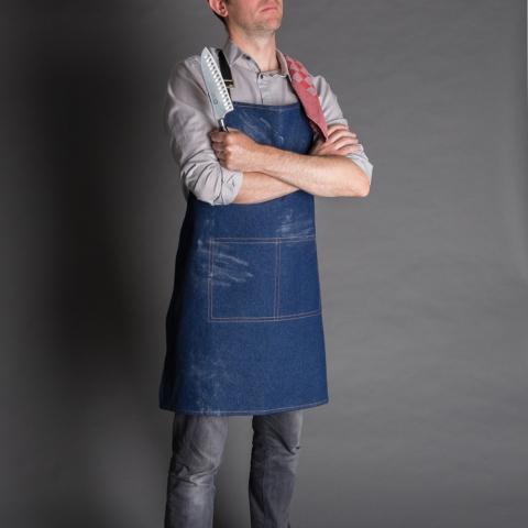 High quality 330 g/m2 denim apron. 100% cotton. Unisex style.