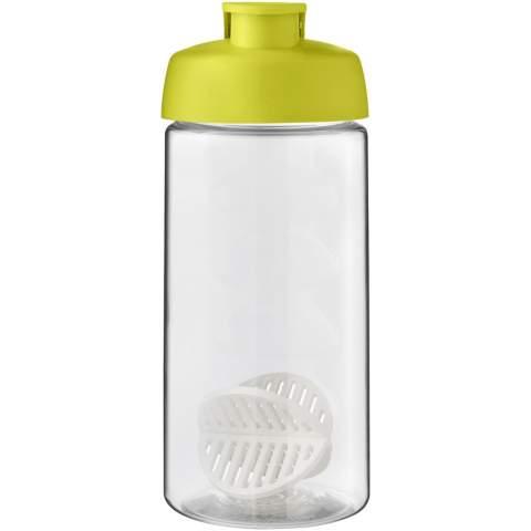 Einwandige Sportflasche mit Shaker-Ball zum problemlosen Mischen von Protein-Shakes. Ausgestattet mit einem auslaufsicheren Deckel mit Klappverschluss und Fingergriff. Das Fassungsvermögen beträgt 500 ml. Hergestellt in Großbritannien. Verpackt in einem kompostierbaren Beutel.
