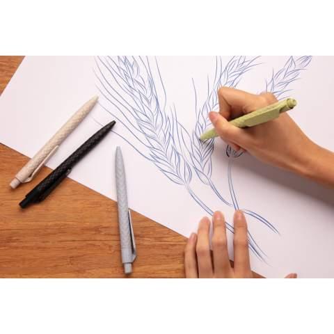 Stylo fabriqué à partir de fibre de paille de blé récolté (composition : 60% de paille de blé et 40% ABS), ce qui le rend durable. Encre bleue Dokumental® de fabrication allemande pour +/- 1200m d'écriture et bille en carbure de tungstene assurant une écriture régulière.