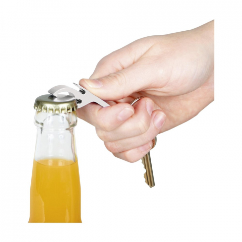 Schlüsselanhänger mit Öffner aus Aluminium.
