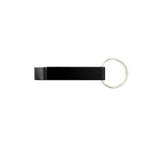Porte-clés en aluminium avec décapsuleur.
