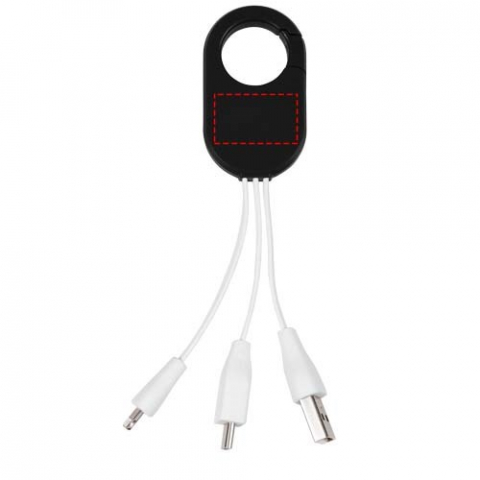 The Troop 3-in-1 charging cable features a USB type C tip and a 2-in-1 dual compatible tip for both Apple® iOS and Android devices. It has a carabiner clip to easily hook on your bag.