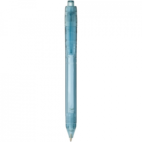 Vancouver recycled PET ballpoint pen. Ballpoint pen with click action mechanism with a transparent barrel. The barrel is made of recycled water bottles, which contributes to decreasing the amount of plastic waste. Recycled PET Plastic.