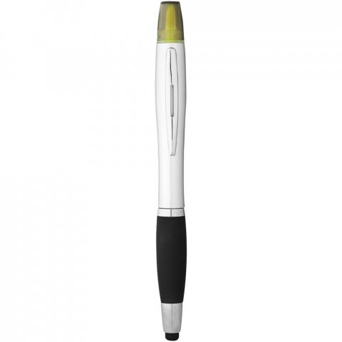 Kugelschreiber mit Drehmechanismus mit Marker und Softtouch Griff.