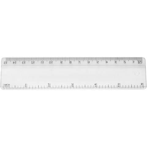 Stabiles Plastiklineal. Markierungen in Zoll und Zentimeter. Bitte beachten Sie, dass die Linealmarkierungen zusammen mit Ihrer Druckvorlage aufgedruckt werden, unveredelte Lineale haben keine Markierungen und sind blank.