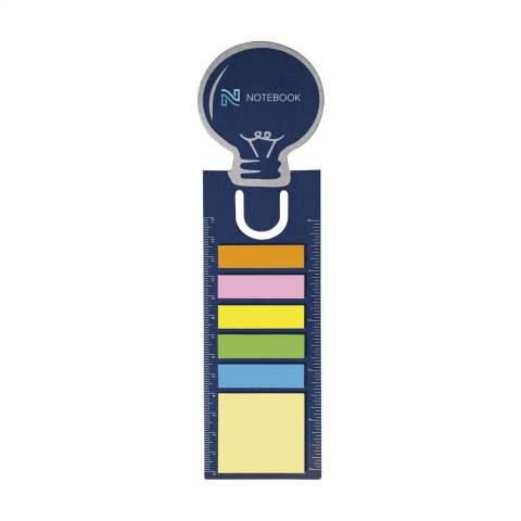 Lesezeichen aus stabilem Karton mit 15 selbstklebenden Memoblättchen, 75 beschreibbaren Markierstickern und Lineal (Länge 13 cm/5 inches).