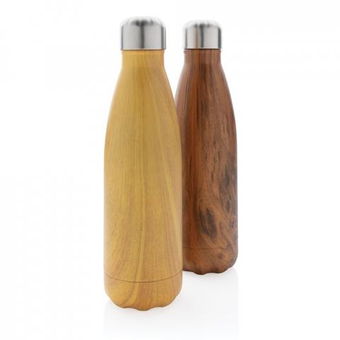 Bouteille 500ml en acier inoxydable avec vide d'air pour garder vos boissons chaudes 5h et froides 15h. L'imitation bois sur le corps de la bouteille en fait un véritable tape-à-l'œil.