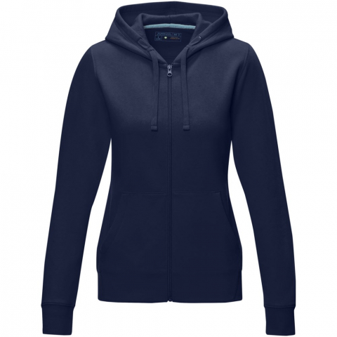 Sustainable promotional apparel. Centre front GRS certified coil zipper. GOTS certified drawstring in hood. Tapered waist for a more flattering fit. Kangaroo pocket. Brushed on the inside. Flat knit rib cuffs. Flat knit rib bottom hem. Bi-coloured branded necktape. Half moon. Heat transfer main label for tagless comfort.