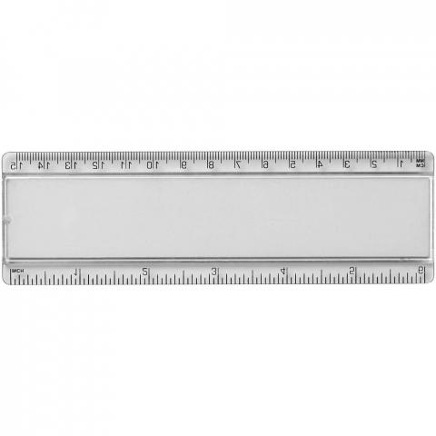 Kunststoff Lineal mit Papiereinsatz und Markierungen in Zoll und Zentimeter.