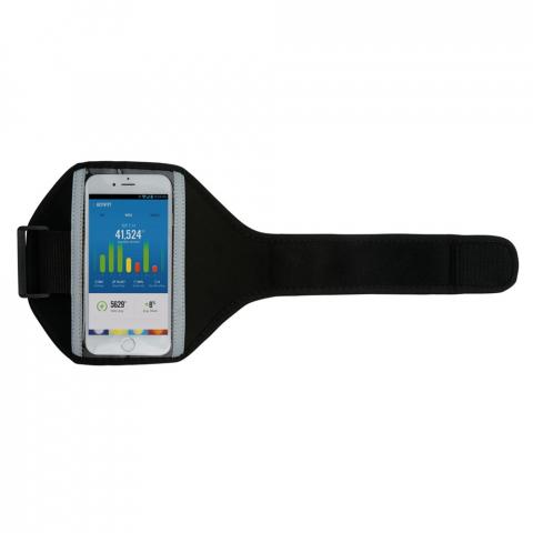Brassard sport en néoprène pouvant contenir la plupart des téléphones portables (Iphone 5, 6, 7, 8, X et Xs' Samsung S6, S7, S8 et S9). Ainsi vous emportez aisément votre téléphone pendant votre jogging ou toute autre activité sportive. Avec bande réfléchissante sur le devant pour une meilleure visibilité. Grâce au Velcro, le brassard est ajustable à différentes tailles.