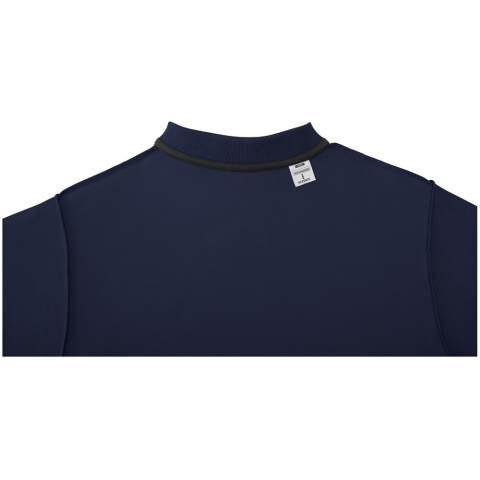 Interior custom branding options. Tearaway-cutaway main label for tagless comfort. Flat knit collar. Two button placket. Double needle stitching detail. Dyed-to-match buttons. Necktape in contrast colour.